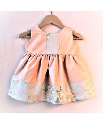 pink & light blue floral baby frock