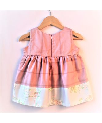 lavender floral striped baby frock