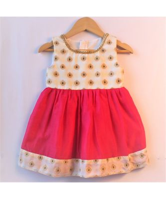 Pink ethnic brocade baby party frock