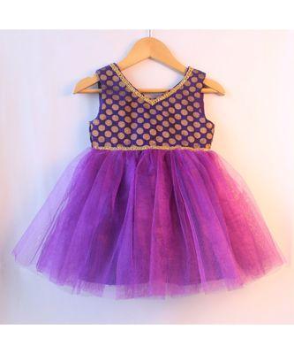 Purple ethnic brocade baby party frock