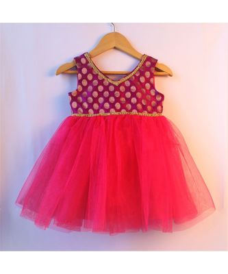 Rani pink ethnic brocade baby party frock