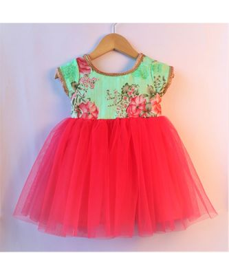 pink & green ethnic floral baby party frock