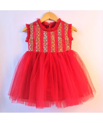 Maroon ethnic embrodered baby party frock