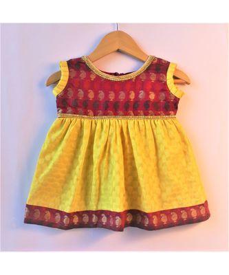 yellow & maroon ethnic brocade baby party frock