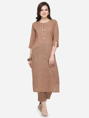 Brown plain cotton kurtas-and-kurtis