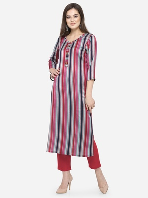 Multicolor plain cotton kurtas-and-kurtis