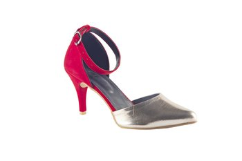 Women Synthetic Red & silver mid Heels ankle strap