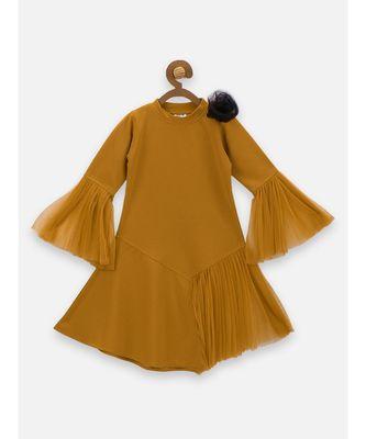 Mustard Mesh Detailing Designer Dress