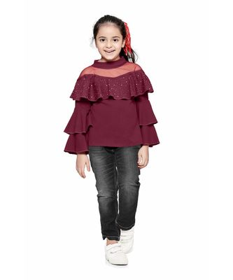 Wine crystal Work layered bell sleeves Top