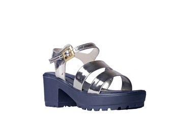 Women Synthetic Silver  block heel