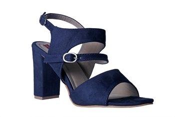 Women  blue suede Leather block Heels ankle strap