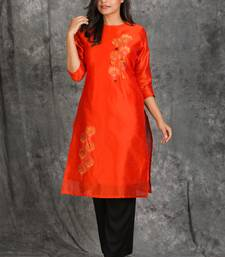 Fiery Orange Zari And Stone Embroidered Kurti With Small Tassels