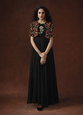 Black Lycra & Slub Silk Resham Embroidery, hand work on koti with glitterring 3D Flower Gown