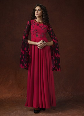 Red Georgette Resham Embroidery, Applique, beads, Metal Sequence Hand work on Yoke Gown
