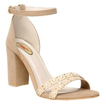 women Cream synthetic Stilettos
