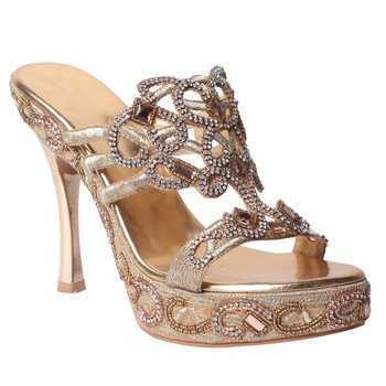 Women Synthetic Gold Heel