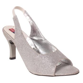 Women Synthetic Silver Heels