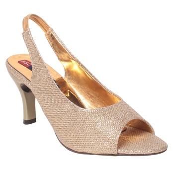 Women Synthetic Gold Heels