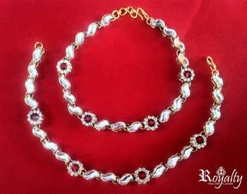 Royal Mystiqye Marron Jade Anklet,  Kundan Anklet