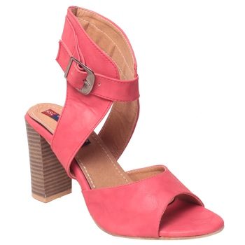Women Synthetic Peach Heels