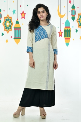 Ikkat Patched Pure Cotton Kurti With Side Panel