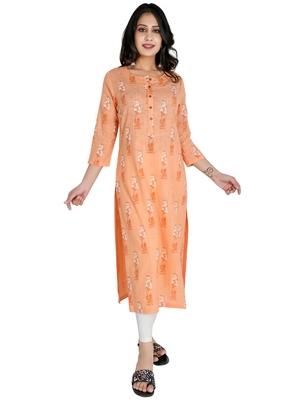 Women's Cotton Straight Kurti with Khadi Print, Peach