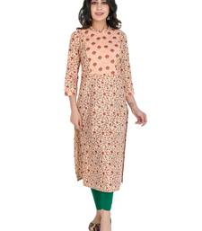 Women's Cotton Slub Printed Long Kurti, Peach Parfait