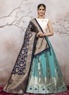 Light Blue Jacquard Semi Stitched Lehenga Choli With Dupatta