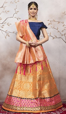 Orange Jacquard Semi Stitched Lehenga Choli With Dupatta