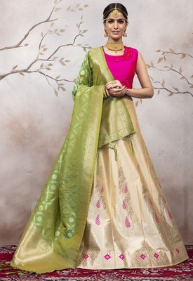 Cream Jacquard Semi Stitched Lehenga Choli With Dupatta