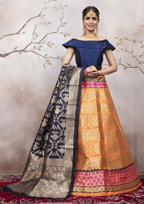 Orange Jacquard Semi Stitched Lehenga Choli With Dupatta