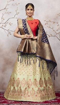 Light Green Jacquard Semi Stitched Lehenga Choli With Dupatta