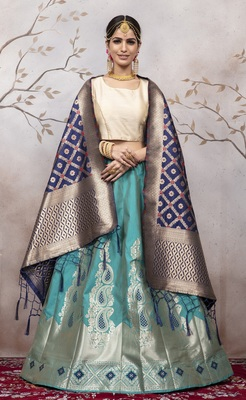 Light Blue Jacquard Semi Stitched Lehenga Choli With Dupatta