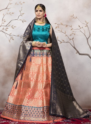 Peachjacquard Semi Stitched Lehenga Choli With Dupatta