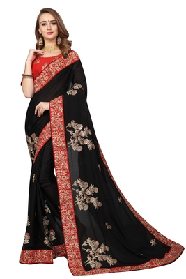 Black Embroidered Satin Saree With Blouse