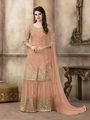 Light-orange embroidered uppada silk salwar