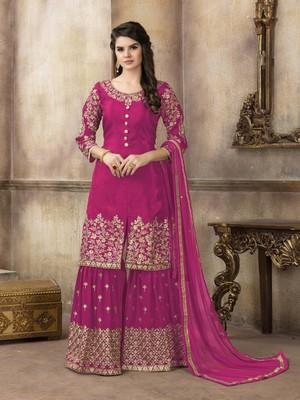Rani-pink embroidered uppada silk salwar