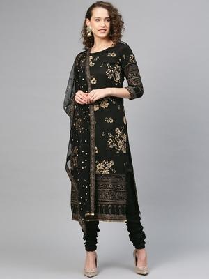 Black printed polyester salwar