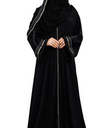 Justkartit Korean Slub Plain Burqa With Pipe Lace Work & Hijab