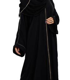 Justkartit Korean Slub Front Open Burqa With Golden Pipe Lace Work And Dupatta