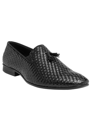 Solid Men Black Formal Leather Slip On Shoes