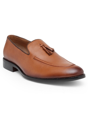 Solid Men Tan Formal Leather Slip On Shoes