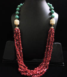 red coral beads with tauquoise and pearl beads