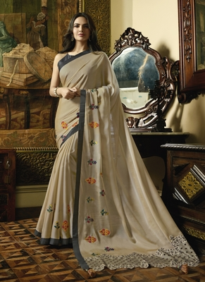 Chiku Embroidered Fancy Fabric Saree With Blouse