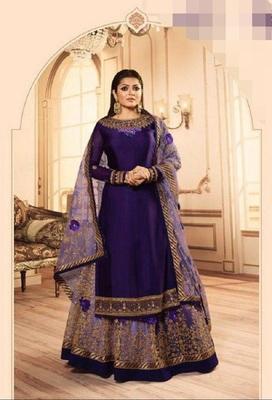 Purple embroidered santoon salwar