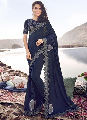 Blue embroidered lycra saree with blouse