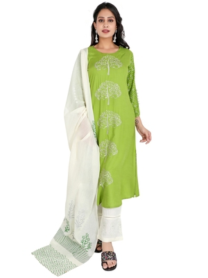 Women's Rayon Embroidery Kurta Palazzo with Dupatta Set, Green