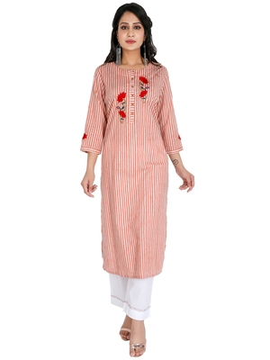 Women's Embroidery Stripes Print with Palazzo Set, Pink