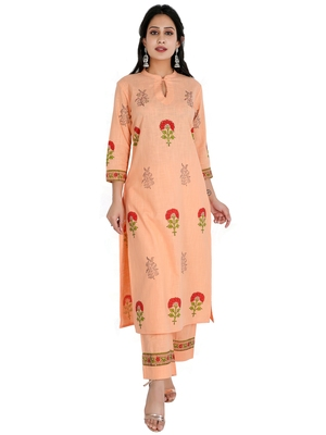 Women's Straight Printed Kurta with Palazzo Set, Peach