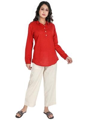 Women's Red Cotton Polka Dot Printed Top
